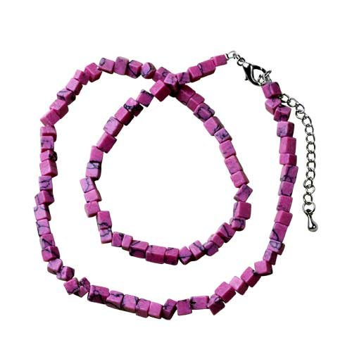 Pugster Rosy Pink Semi Precious Chip Stone Necklace