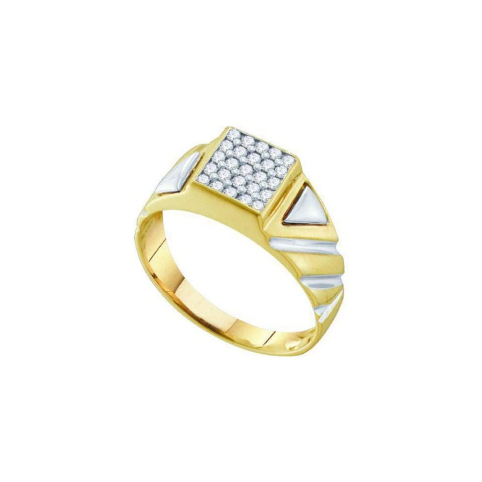 0.25 cttw 10k Two Tone Gold Diamond Mens Cluster Diamond Ring Wedding Anniversary Band (Real Diamonds 1/4 cttw, Ring Sizes 8 13) Jewelry