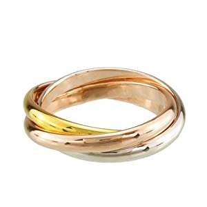 FM42 2mm Tri Color Gold, Rose, Silver Tone Interlocked Rolling Band Ring Size 7
