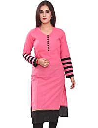 Kurti For Women Pink Color Cotton Fabric Free Size Semi Stitched In Low Price