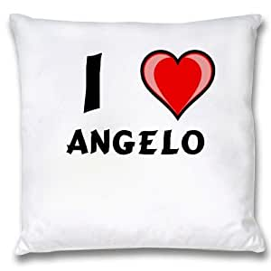 White Cushion Cover with I Love Angelo (first name/surname/nickname