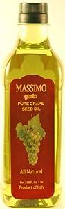Massimo Gusto, Grapeseed Oil, 1 Liter Bottle (Pack of 2)