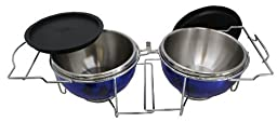 Nifty Pets-on-the-go Steel Collapsible Travel Dog Bowl Dish Blue