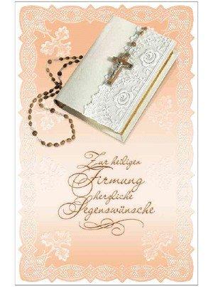 SUSY CARD Firmungskarte Bibel und Rosenkranz 4050498040244