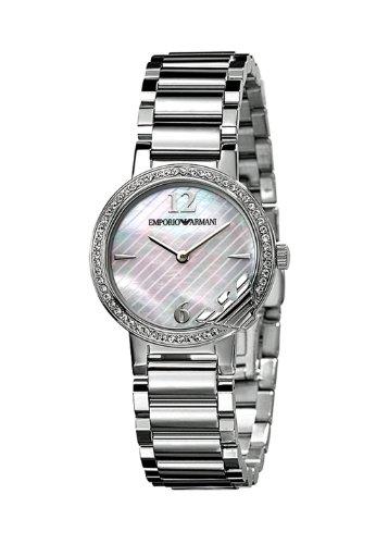 Emporio Armani AR0746 - Reloj analógico de cuarzo para mujer con correa de acero inoxidable, color plateado