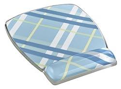 3M Mouse Pad with Gel Wrist Rest, Plaid Design (MW308PL)
