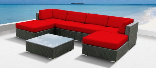 Luxxella Outdoor Patio Wicker MALLINA Sofa Sectional Furniture 7pc All Weather Couch Set RED