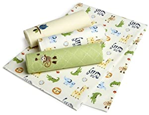 Just Born 4-Pack Flannel Receiving Blankets - Animal Adventure