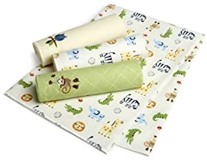 Just Born 4-Pack Flannel Receiving Blankets - Animal Adventure (Discontinued by Manufacturer)