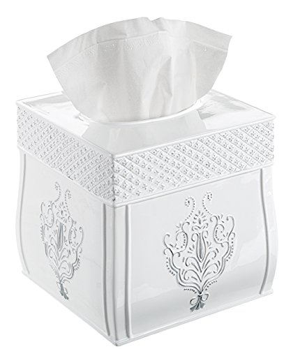 Creative Scents Tissue Box Cover, Decorative Square Tissue Box Holder is Finished in Beautiful Vintage White Bathroom Accessories (Bamboo Appliance Slide compare prices)