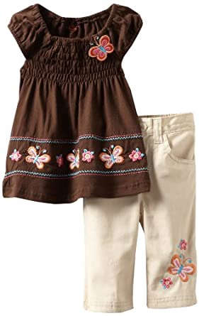 Young Hearts Little Girls' 2 Piece Capri Set, Brown, 2T