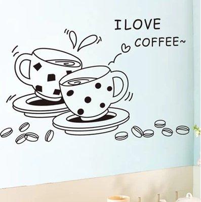 I Love Coffee Restaurant Storefront Kitchen Wall Sticker Home Decoration Wallpaper