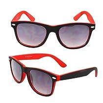 MLC Eyewear Wayfarer Fashion Sunglasses 351RD Black with Rubber Coatin Red Frame Nerd Vintage Sunglasses