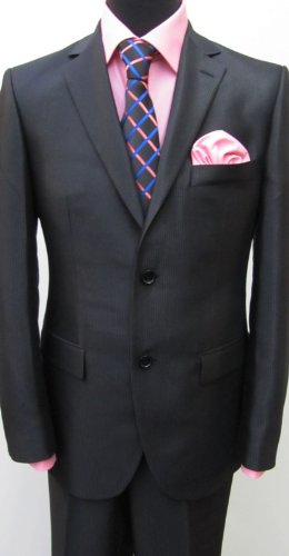 MUGA mens Suit elegant, Slim-fit, strip gloss Black, size 36R (EU 46)
