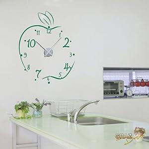 Vinilo de pared decoraci n de pared con reloj manzana - Reloj de pared para cocina ...
