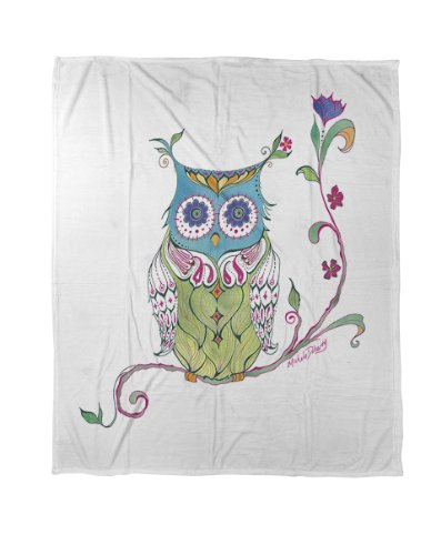 Thumbprintz Coral Fleece Throw, 50 By 60-Inch, Owl Branch front-470771