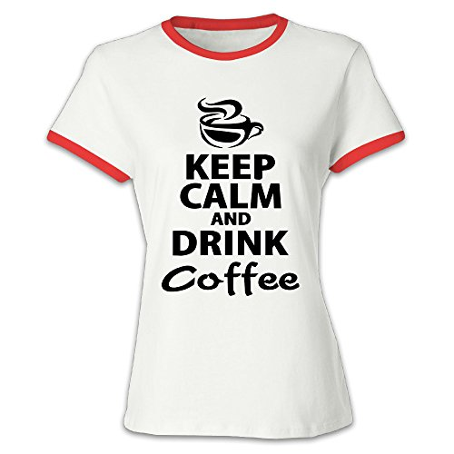 Youqian Drink Coffee Keep Calm Women's T-Shirt Large Red Womens (Zojirushi Coffee Grinder compare prices)