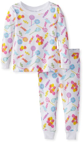 Vitamins Baby Baby-Girls Infant Candy Print Two Piece Thermal Pajama, White, 18 Months back-839705