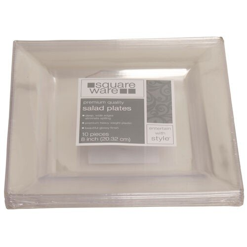 Jam Paper® - 8 X 8 Clear Square Plastic Party Plates - 10 Plates Per Pack