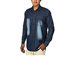 China Collection Men's Blue Denim Casual Shirt(XL)