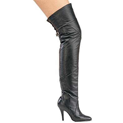 4 Inch High Heel Leather Boots Black Thigh High Boots Pull On