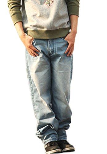Nanquan Men Cool Hip-Hop Baggy Light Colour Washed Jean Denim Long Pants 32 Blue