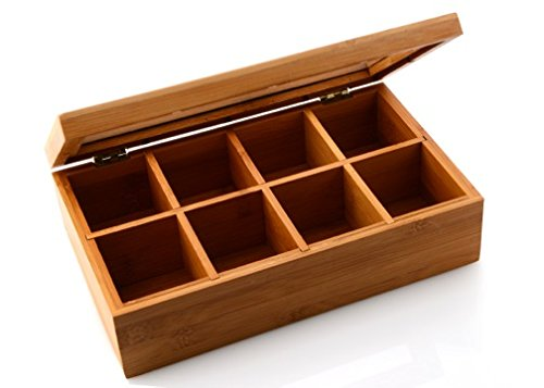 box tea storage bamboo bag holder organizer chest lid display kitchen coffee new ebay. Black Bedroom Furniture Sets. Home Design Ideas