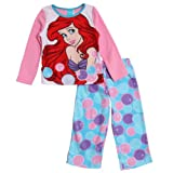 Disney The Little Mermaid Big Girls' 2 Piece Pink Polar Fleece Pajama Set