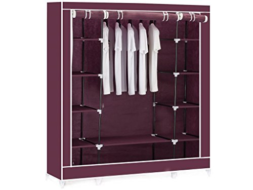 red-maroon-triple-canvas-clothes-wardrobe-cupboard-hanging-rail-storage-with-11-shelves-175-x-150-x-