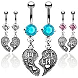 "SBJ-0032 Pair of Antique Finished ""Best Friend"" Heart Charm Pendent CZ Navel Ring; Choose 1 Color"