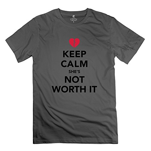 ZYA6W Valentine's Day Man Keep Calm Shes Worth It Classic Tee Shirts