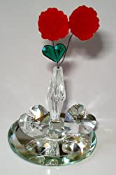Crystal Vase with Roses and Hearts Made with Swarovski Crystal