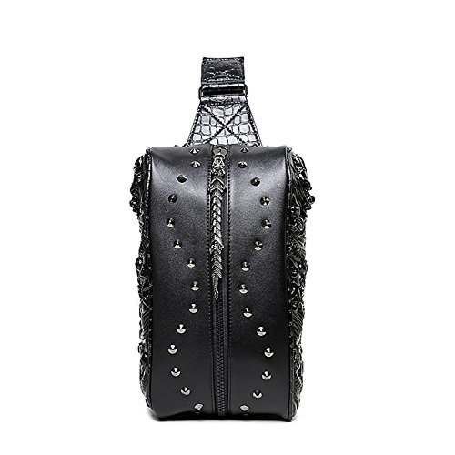 Aibag Cool Personalized 3D Dragon Studded Leather Chest Shoulder Bag Backpack