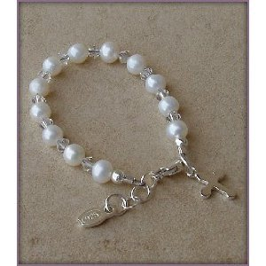 Grace Sterling Silver Childrens Girls Bracelet Jewelry Beautiful keepsake sterling silver bracelet with freshwater sea pearls and Czech crystals accented with a sweet silver cross - perfect for christenings, baptisms or communion! Size Large 6-13 Years
