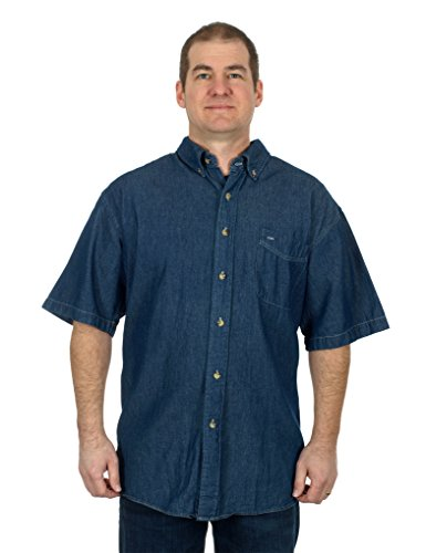 mens-denim-short-sleeve-button-down-shirt-large-dark-blue
