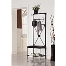 Kings Brand M05 Hallway Storage Bench with Coat Rack Black Finish