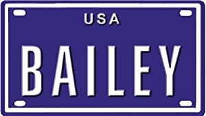 """BAILEY USA MINI METAL EMBOSSED LICENSE PLATE NAME FOR BIKES, TRICCLES, WAGONS, KIDS DOORS, GOLF CARTS, BABY STROLLERS, PEDAL CARS. OVER 400 NAMES AVAILABLE. TYPE IN """"NAME"""" USA PLATE IN SEARCH. YOUR ANME WILL SHOW UP."""