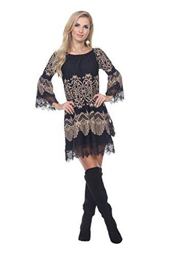 Aris Women's Lace Trim Tunic Top Dress Bundle: Dress & Wash Bag (Large, Beige)