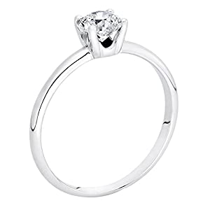 GIA Certified 14k white-gold Round Cut Diamond Engagement Ring (0.59 cttw, G Color, VVS2 Clarity)