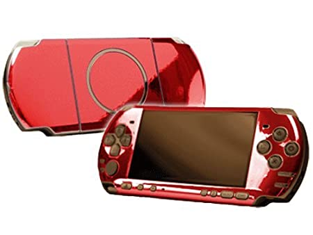 PlayStation Portable 3000 (PSP-3000) Skin - NEW - RED CHROME MIRROR system skins faceplate decal mod