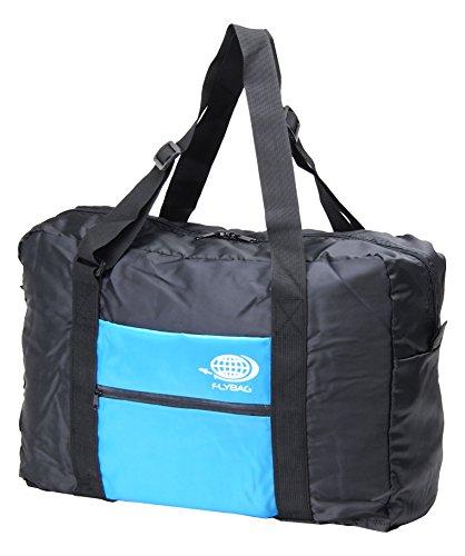 折り畳みボストンバッグ トラベルバッグ キャリーに通せる フォールディングバッグ FLY BAG-01 (ブラック×ブルー)