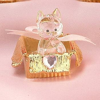 Glass Kitten Cat Cats Pink Box Figure Figurine Model Statue Decor