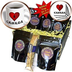 SmudgeArt Canada Art Designs - I Love Canada - 2 - Coffee Gift Baskets - Coffee Gift Basket