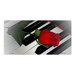 Smart Blonde LP-1335 Piano Keys Red Rose Novelty Metal License Plate Tag Sign