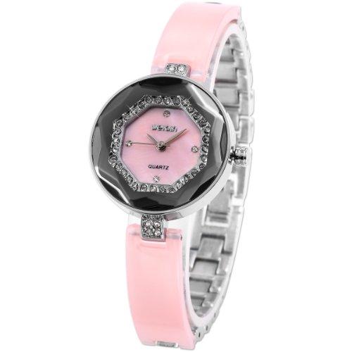 WEIQIN Charm Crystal Bezel Lady Pink Bracelet Slim Band Analog Dress Quartz Watch WQI042