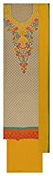 Punjaban Boutique Women's Chanderi Cotton Unstitched Dress Material (Beige and Yellow)