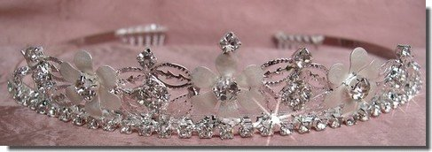 Bridal Wedding Tiara Crown With White Flowers 46525
