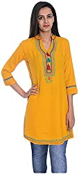 Geroo Women's Cotton Regular Fit Kurta (MKT-1502AAZ, Yellow, S)