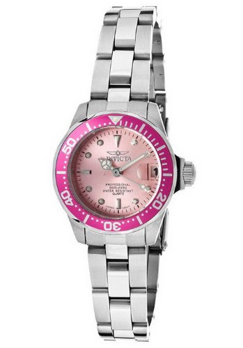 Invicta 14098 Women'S Pro Diver Pink Dial Stainless Steel