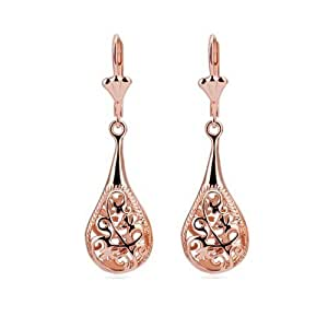 Rose Gold Tone Drop Earrings Women's Fashion Jewelry
